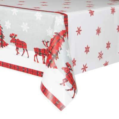 Rustic Plaid Christmas Rectangular Plastic Table Cover  54
