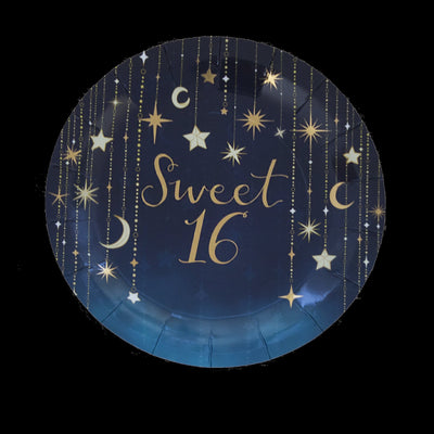 9 in. Sweet 16 Starry Night Foil Print Luncheon Plate 8 ct.