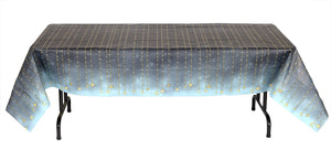Black Star Starry Night Paper Tablecover Plastic Lined 54 in. X 108 in.  1 ct.