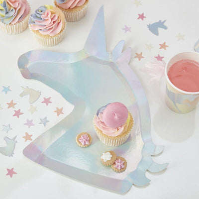 Ginger Ray Make A Wish Iridescent Unicorn Shaped Paper Plates 8 ct.