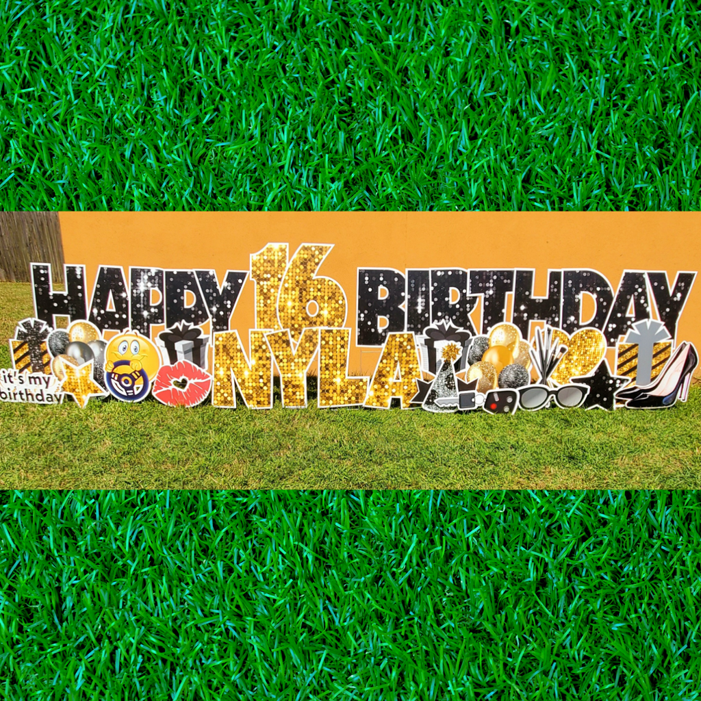 Starry Night Sweet 16 Happy Birthday Weekend Yard Card Rental