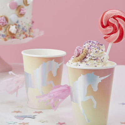 Ginger Ray Make A Wish Iridescent Foiled Unicorn Tassel Paper Cups 8 ct.