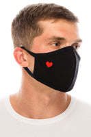 Face Mask, 100% Cotton, 2 layers, Red Heart Black, Washable, Reusable Mask, Adult Size