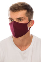 Face Mask, Cotton, 2 layers, Burgundy, Washable, Reusable Mask, Adult Size