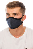 Dark Denim Face Mask, Cotton, 2 layers, Washable, Reusable Mask, Adult Size
