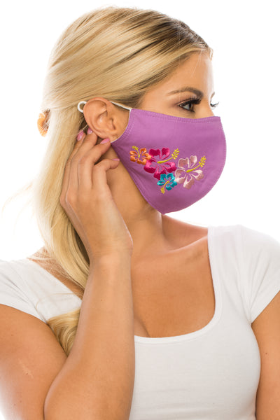 Embroidered Face Mask, LILAC  Cotton Blend, 2 layers W/Pocket for a filter, Washable, Reusable Mask, Adult Size
