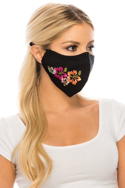 Embroidered Face Mask Hibiscus BLACK  Cotton Blend, 2 layers W/Pocket for a filter, Washable, Reusable Mask, Adult Size