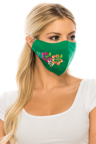Embroidered Face Mask, Hibiscus GREEN  Cotton Blend, 2 layers W/Pocket for a filter, Washable, Reusable Mask, Adult Size