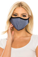 Face Mask, Cotton, 2 layers, Faded Blue. Stretchy and Washable, Reusable Mask, Adult Size