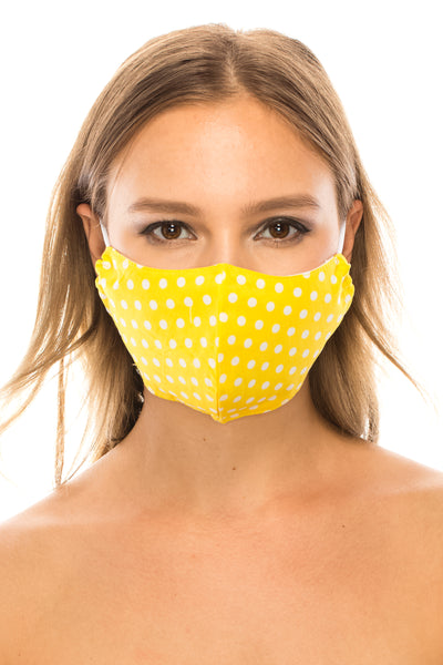 Face Mask,  Cotton Blend, 2 layers, Yellow Polka Dots, Washable, Reusable Mask, Adult Size