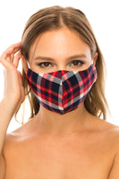 Face Mask, 100% Cotton, 2 layers, Tartan Red, Washable, Reusable Mask, Adult Size
