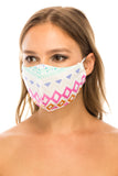 Face Mask, 100% Cotton, 2 layers, Designer Pattern, Pink Diamond, Washable, Reusable Mask, Adult Size