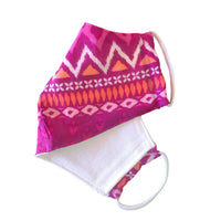 Face Mask, 100% Cotton, 2 layers, Fuchsia Diamond, Washable, Reusable Mask, Adult Size