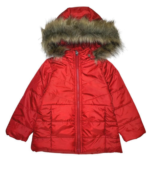 Girl's Zipper Hooded Puffer Jacket With Fur