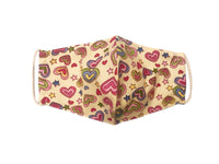 Face Mask, 100% Cotton, 2 layers, Designer Beige Hearts, Washable, Reusable Mask, Adult Size