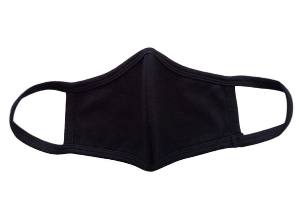 Face Mask, Cotton, 2 layers, Black, Washable, Reusable Mask, Youth Size