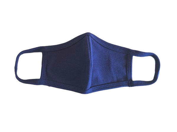 Face Mask, 100% Cotton, 2 layers, Navy, Washable, Reusable Mask, Youth Size