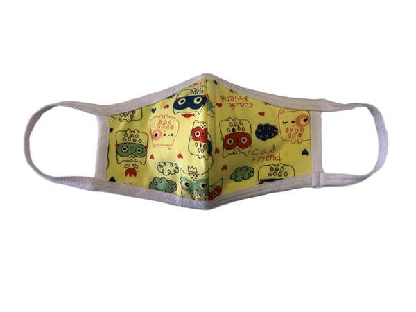 Face Mask, 100% Cotton, 2 layers, Owl&Friend, Washable, Reusable Mask, Youth Size