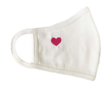Face Mask, Cotton, 2 layers, Pink Heart White, Washable, Reusable Mask, Adult Size