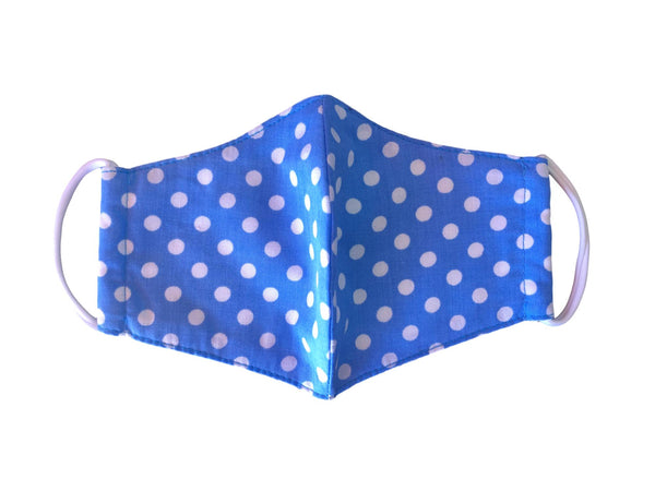Face Mask,  Cotton Blend, 2 layers, Blue Polka Dots, Washable, Reusable Mask, Youth Size