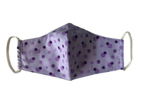 Face Mask, 100% Cotton, 2 layers, Designer Purple Polka dot, Washable, Reusable Mask, Adult Size