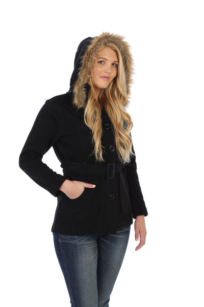 unik Women Fleece Coat with Fur Hood and Detachable Belt-Black