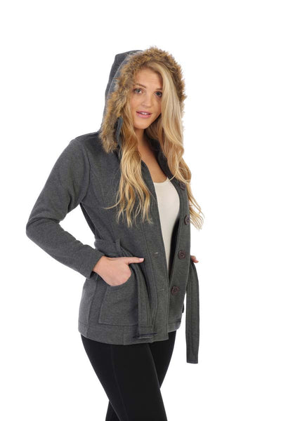 unik Women Fleece Coat with Fur Hood and Detachable Belt- Dark Grey