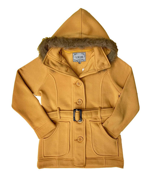 unik Women Fleece Coat with Fur Hood and Detachable Belt- Honey