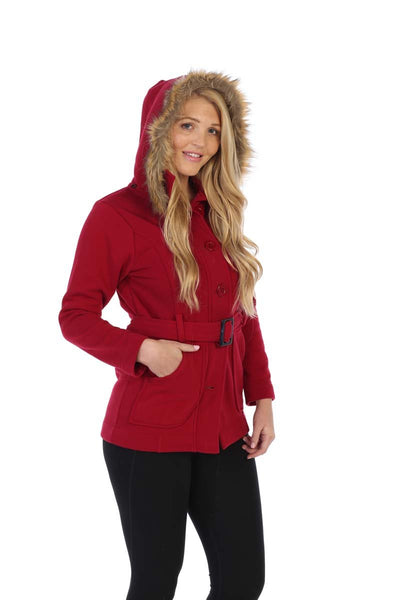 unik Women Fleece Coat with Fur Hood and Detachable Belt- Dark Red