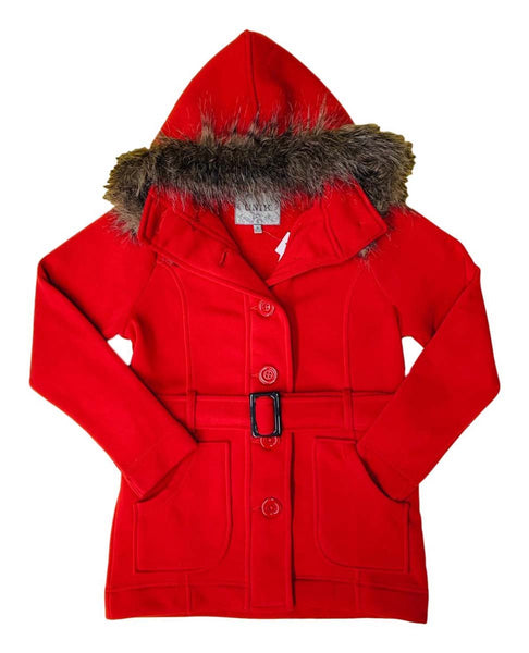 unik Women Fleece Coat with Fur Hood and Detachable Belt- Scarlet