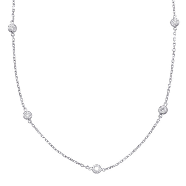 White Gold Diamond By The Yard Necklace