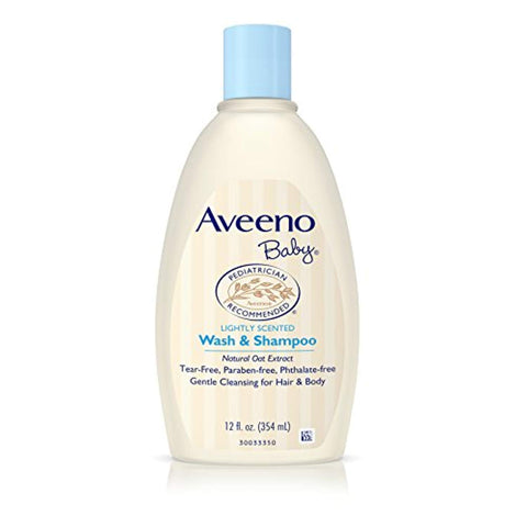 Aveeno Baby Gentle Wash & Shampoo - Natural Oat Extract, Tear-Free Lightly Scented, 12 fl. oz
