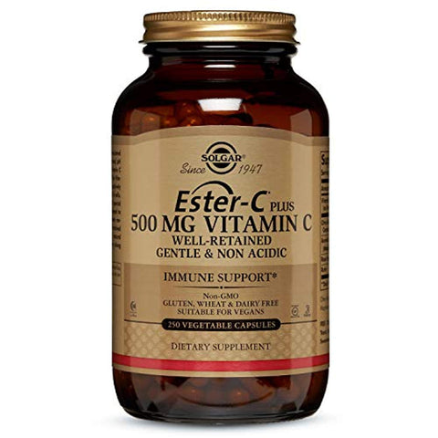 Solgar Ester-C Plus 500 mg Vitamin C, Immune Support, Well-Retained, Gentle & Non Acidic, Non-GMO, Suitable for Vegans, 250 Vegetable Capsules