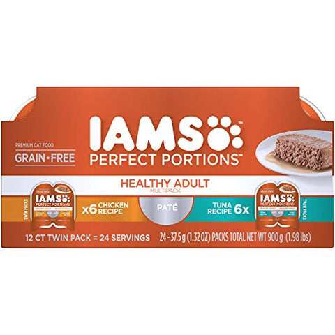 Iams Multipack Healthy Adult Grain Free Wet Cat Food, Chicken and Tuna Pate, 2.6 oz. (24 Twin Packs)