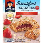 Quaker Breakfast Squares, Soft Baked Bars, Strawberry, 5 Bars (Pack of 8)
