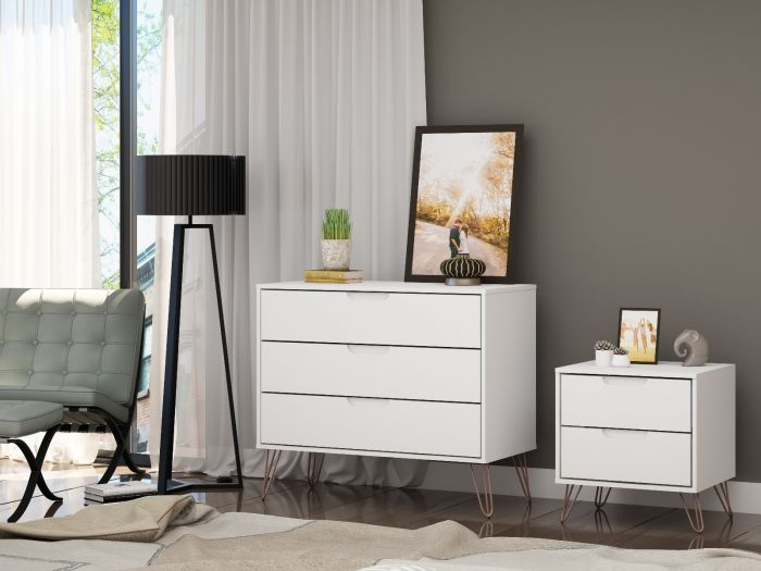 Modern Style Rockefeller Dresser and Night Stand