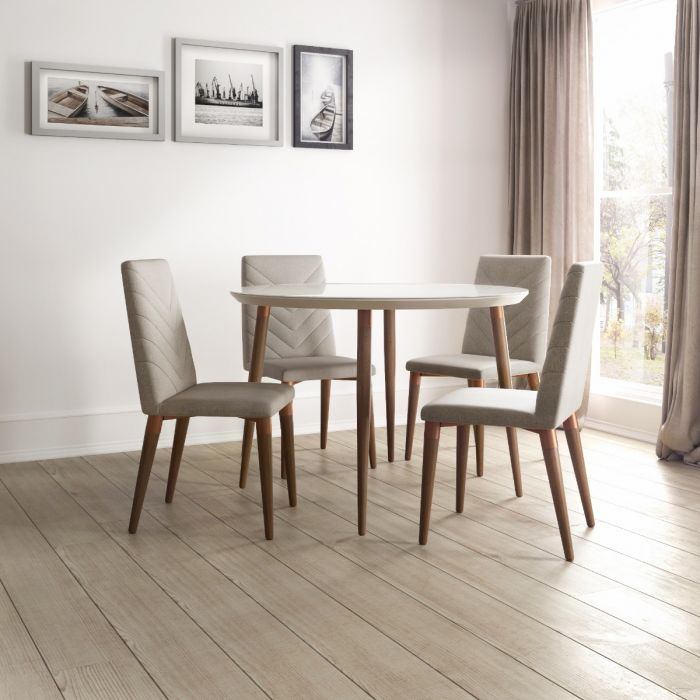 Utopia Modern Round Dining Table with Chevron Dining Chairs