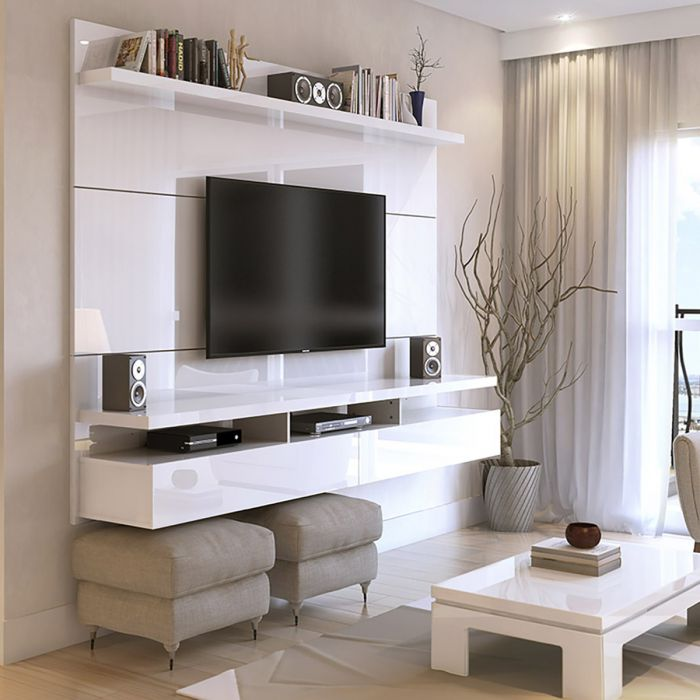 City Floating Entertainment Center with Built-in TV Mount