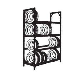 Four Tier Tire Racks Single Entry