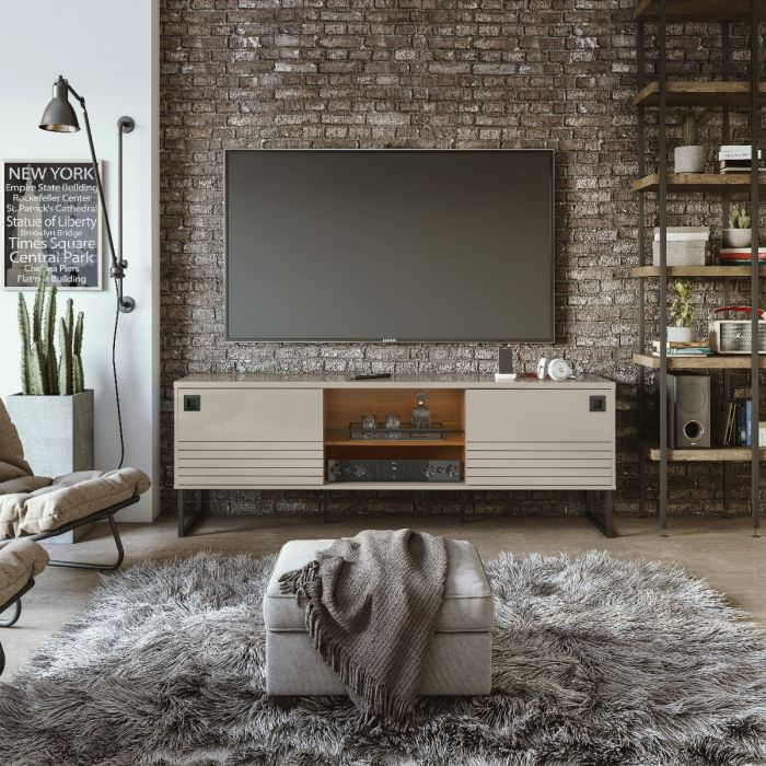 Open and Concealed Shelving Loft TV Stand