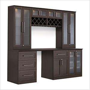 Demo - 8-Piece Shaker Style Home Bar Cabinet System (Espresso)