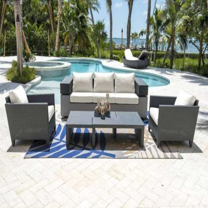 Demo - Onyx 5 PC Seating Set w/off-white cushions PJO-1901-BLK-5PS Panama Jack
