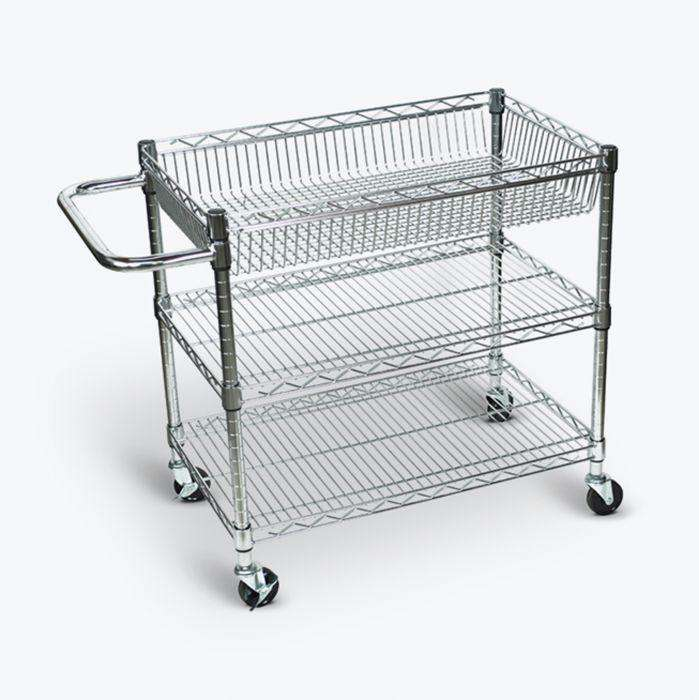 Large Wire Tub Cart - Three Shelves