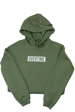 Cropped warm up hoodie khaki green