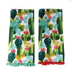 Cactus Dish Towel with Pom Poms - Meyer's Market