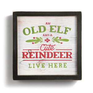 Old Elf And A Cute Reindeer Sign - Meyer's Market