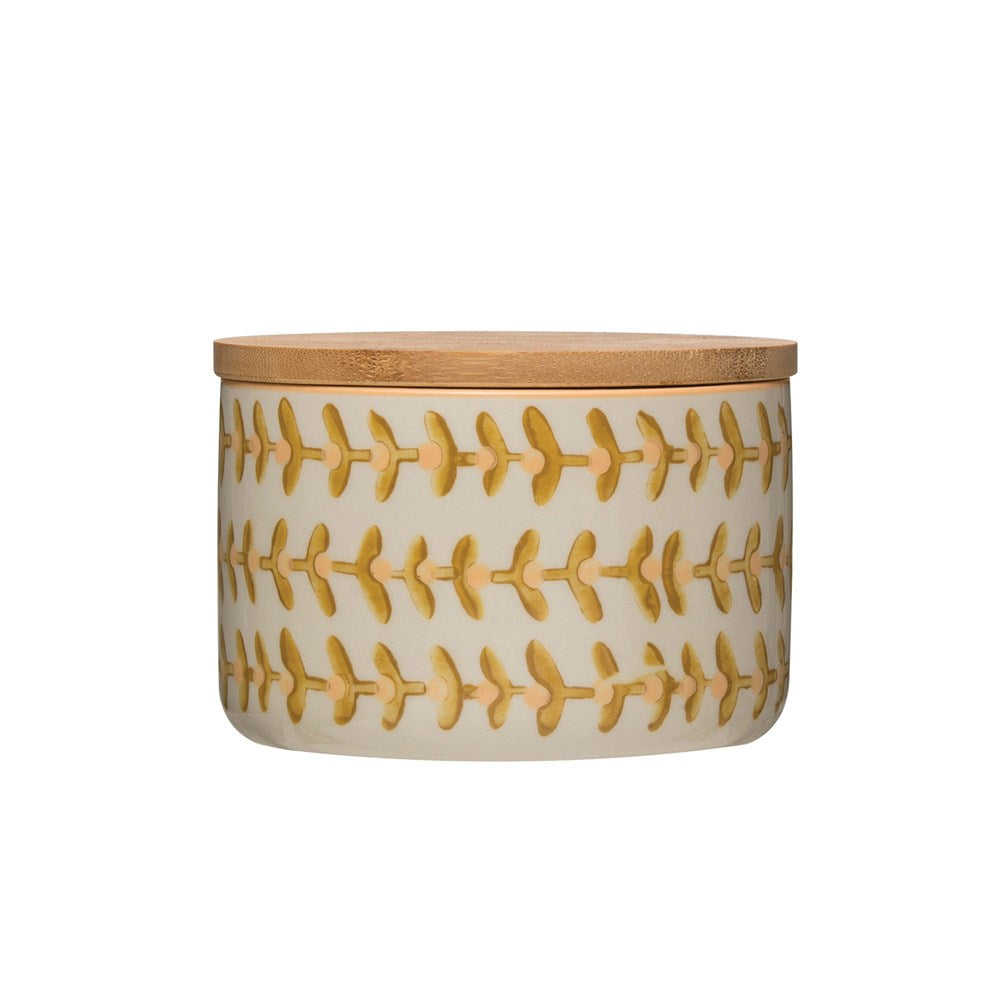 Stoneware Canister Mustard Floral - Meyer's Market