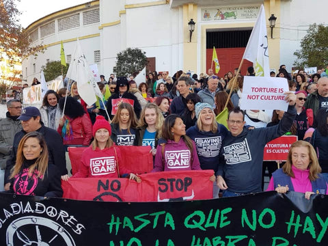 bull fight protest, Spanish bull fighting Marbella. Animal activists