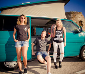 vegan clothing sustainable ethical gifts recycled plastic and bamboo, camper van