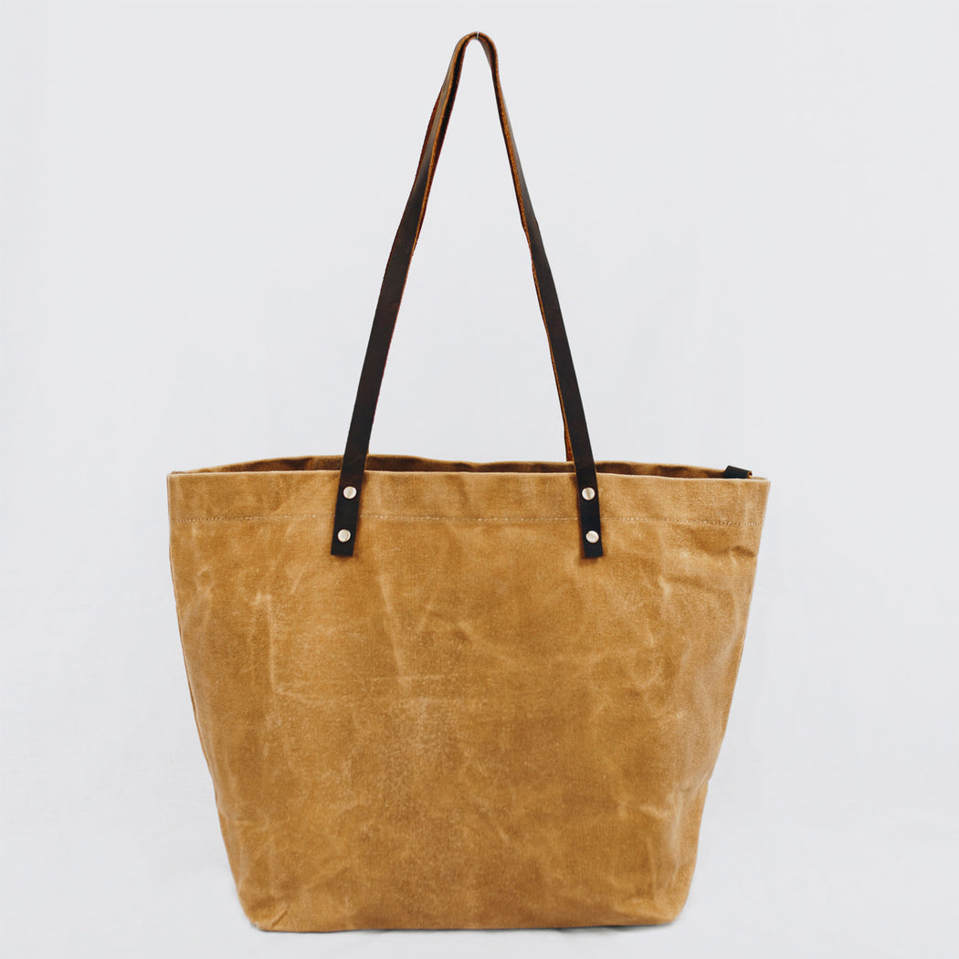 Waxed canvas tote carry bag
